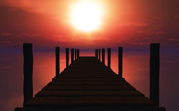 Silhouete drewniane molo o zachodzie słońca