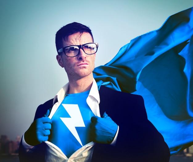 Silne superbohatera biznesmen błyskawica koncepcje