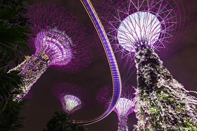 Singapur - 15 października 2014: gardens by the bay to park o powierzchni 101 hektarów w centrum singapuru.