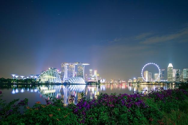 Singapur pejzaż miejski przy nocą