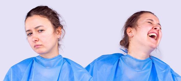Siostra medyczna pozuje do kamery z różnymi wyrazami twarzy w zaburzeniu czasu pandemii lub...