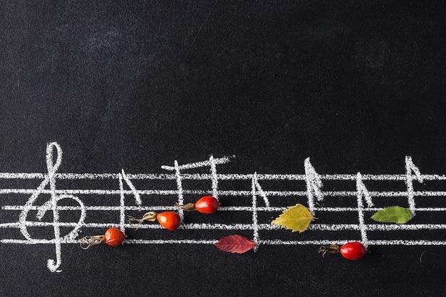 Skala muzyczna z kluczem wiolinowym i notatkami na tablicy.