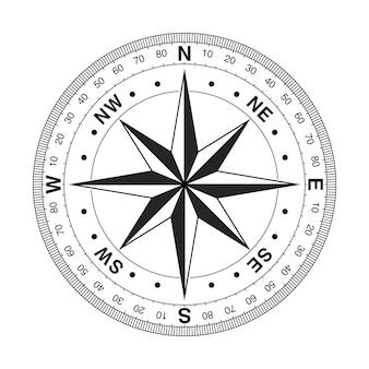 Skala pomiarowa vintage kompas z różą wiatrów na białym tle. renderowanie 3d