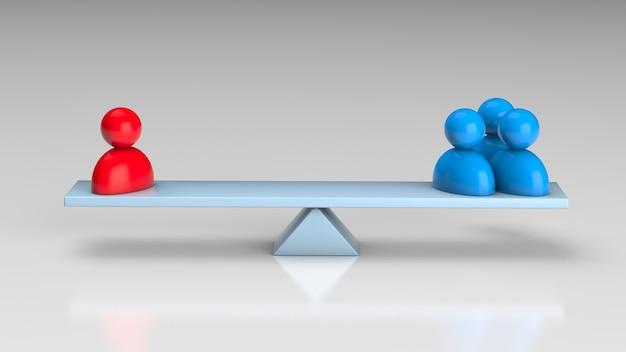Skala równowagi i wybór jednego lidera lub trzech zwykłych pracowników rekrutacja personelu hr