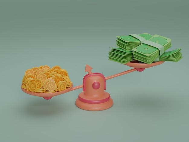 Skala ważenia waluty bitcoin cash stylizowana ilustracja 3d rende