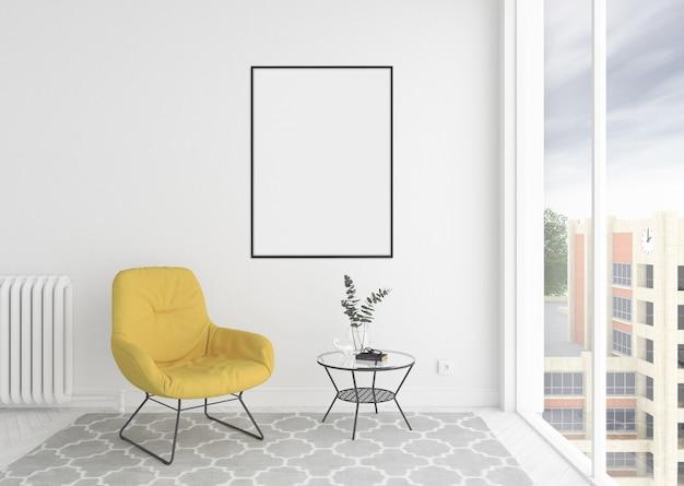 Skandynawska wewnętrzna poczekalnia z pustą pustą ramką na zdjęcia lub ramką z grafiką