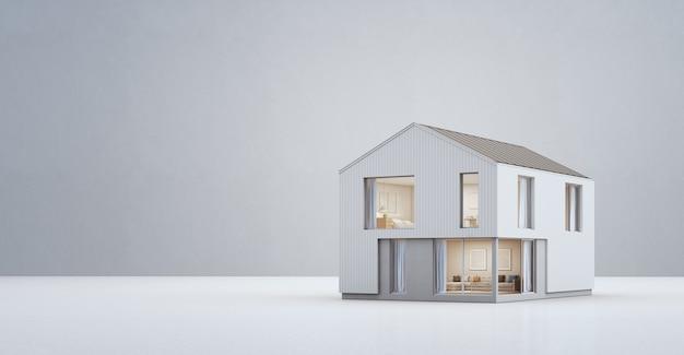 Skandynawski dom w nowoczesnym stylu z miejsca na kopię.