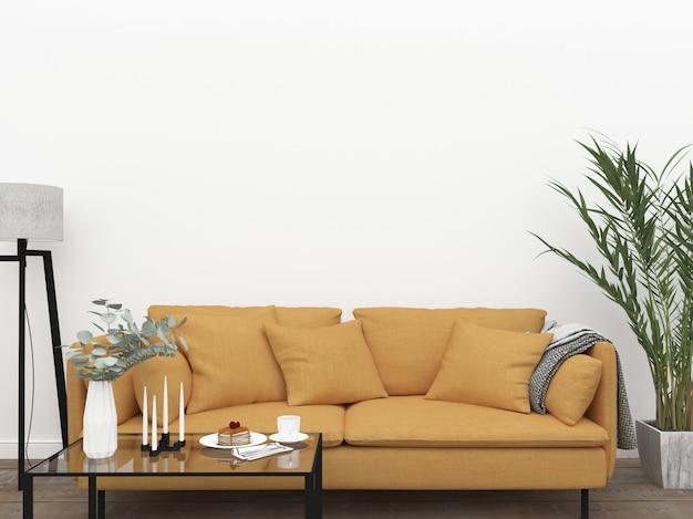 Skandynawski pokój dzienny z żółtą kanapą