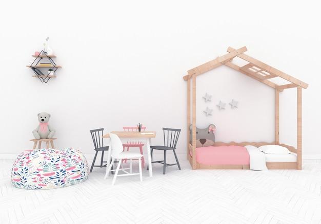 Skandynawski pokój zabaw z pustą ścianą