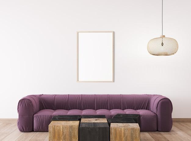 Skandynawski projekt salonu, makieta ramy w jasnym wystroju wnętrza