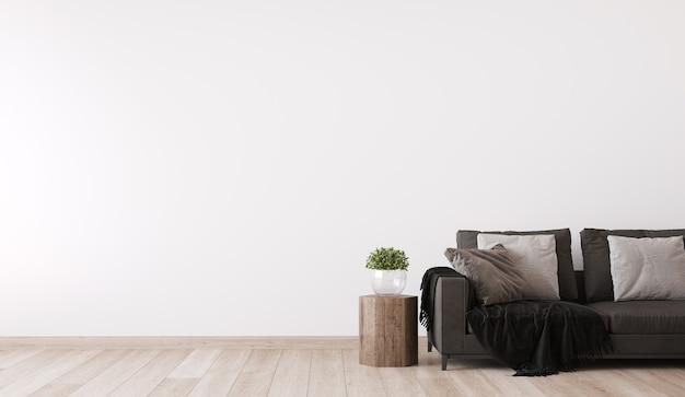 Skandynawski projekt salonu, wystrój domu panoramicznego z ciemną sofą