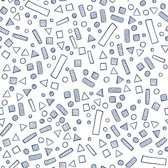 Skandynawski prosty wzór z prostokątami, trójkątami, okręgami i kwadratami. geometryczny wzór na papier i tekstylia.