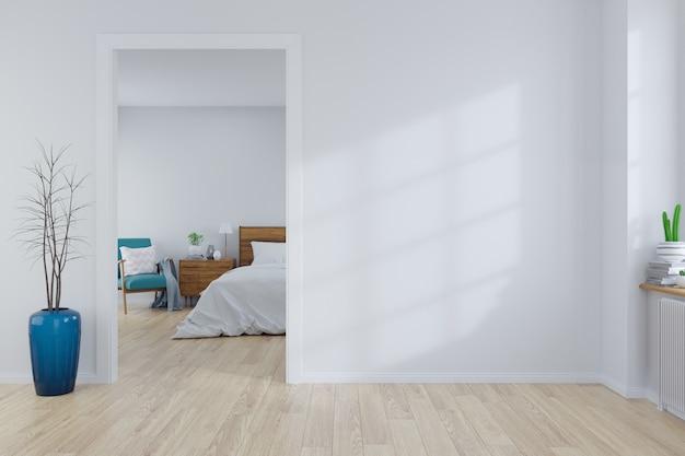 Skandynawski wnętrze sypialnia pojęcia projekt, pusty pokój, 3d rendering