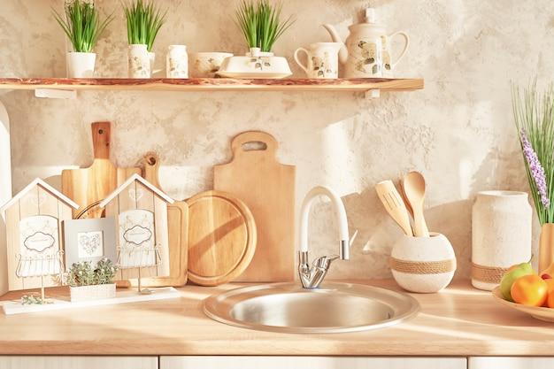 Skandynawski wystrój kuchni w stylu loftu