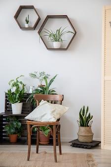 Skandynawski wystrój wnętrz. biała ściana, krzesło, poduszka, półki i rośliny.
