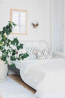 Skandynawskie nowoczesne przytulne eko białe wnętrze w sypialni, duża zielona roślina, minimalizm