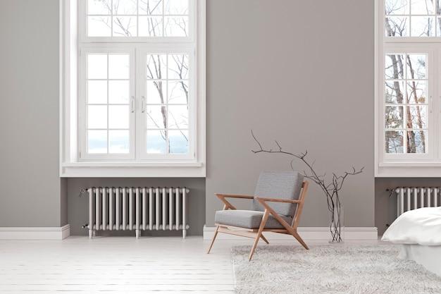 Skandynawskie szare puste wnętrze z fotelem, oknem i dywanem. ilustracja renderowania 3d.