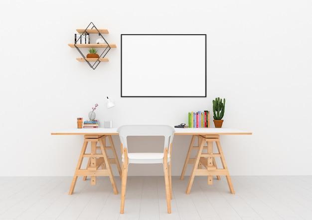 Skandynawskie wnętrze - powierzchnia biurka z poziomą ramą