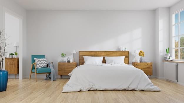 Skandynawskie wnętrze sypialni koncepcja