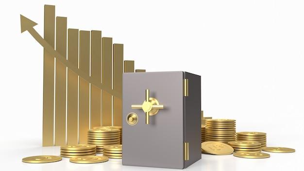 Skarbiec bezpieczne i złote monety na białym tle dla koncepcji biznesowej renderowania 3d