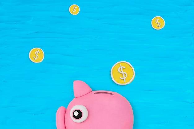 Skarbonka finanse tło diy sucha glina kreatywna sztuka dla dzieci