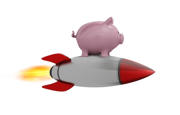 Skarbonka leci na rakiecie. koncepcja szybkiego wzrostu pieniędzy.