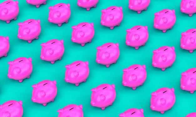 Skarbonka w kolorze fuksji na turkusowej powierzchni. pojęcie oszczędności i pieniędzy. renderowania 3d.