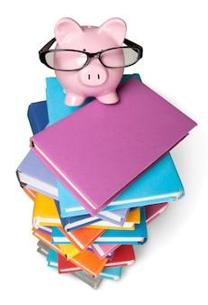 Skarbonka w okularach i książkach na białym tle