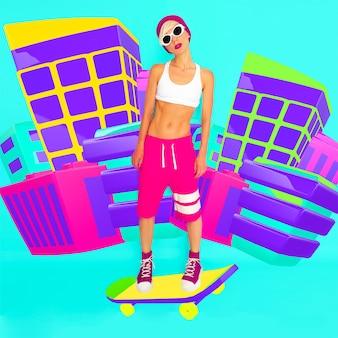 Skater stylowa dziewczyna w miejskiej lokalizacji 2d. minimalna modna kolorowa sztuka kolażu
