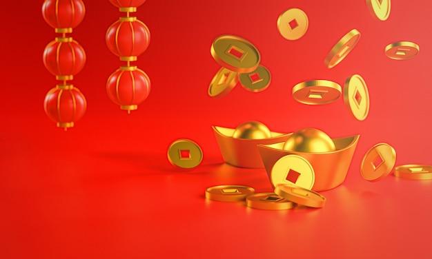 Skład chiński nowy rok. chińska złota moneta spada do sztabki. renderowanie 3d latarni