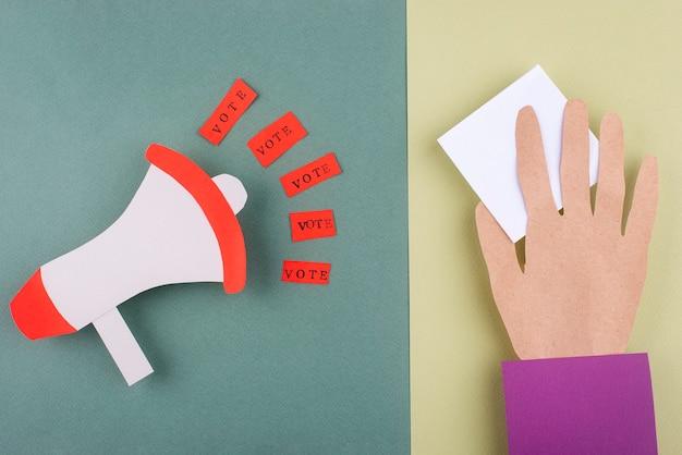 Skład głosowania w stylu papierowym z widokiem z góry