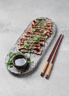 Skład japońskiego posiłku pod wysokim kątem