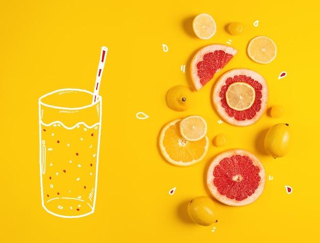 Skład owoców cytrusowych, pomarańczy i cytryny na żółtym tle