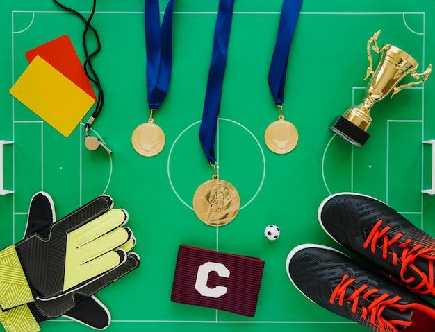 Skład piłki nożnej z różnych elementów