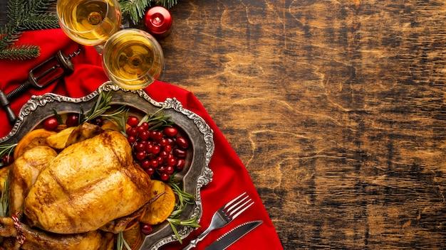 Skład świątecznego posiłku z miejsca na kopię