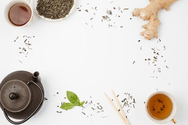 Skład widoku z góry na koncepcji herbaty