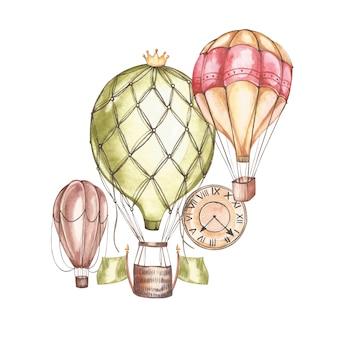 Skład z balonów na ogrzane powietrze i sterów, akwarela ilustracja. element do projektowania zaproszeń, plakatów filmowych, tkanin i innych przedmiotów.