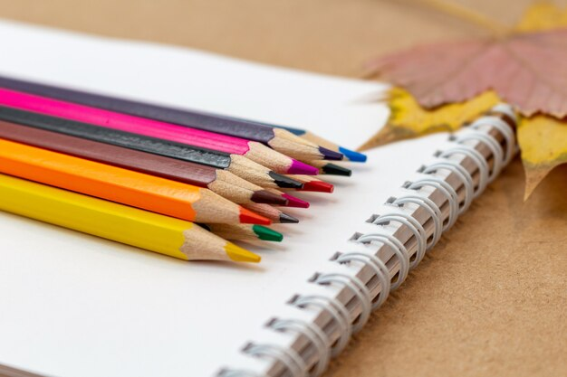 Skład z notatnik pustej strony kolorowymi ołówkami i jesień liśćmi z kopii przestrzenią. powrót do koncepcji szkoły