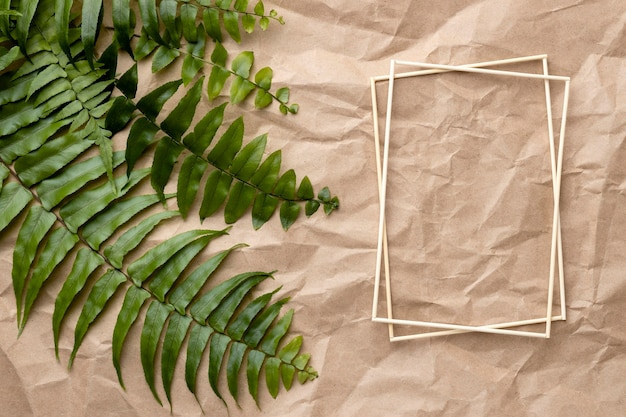Skład zielonych liści z pustą ramką