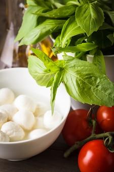 Składniki na sałatkę caprese: pomidor, mozzarella, świeża bazylia, oliwa, przyprawy