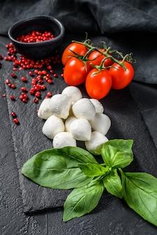 Składniki na sałatkę caprese, ser mini mozzarella, liście bazylii i pomidory koktajlowe. widok z góry