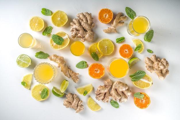 Składniki napoju wzmacniającego odporność. domowy sok lub koktajl imbirowo-cytrusowy ze świeżymi owocami cytrusowymi - pomarańczą, cytryną, limonką, korzeniem imbiru i miętą