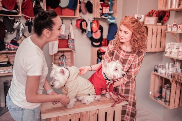 Sklep dla zwierząt. dwie najlepsze przyjaciółki czują się radośnie rozmawiając i robiąc zakupy w sklepie dla zwierząt