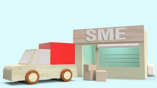 Sklep i pudełko do transportu renderingu 3d dla koncepcji sme.