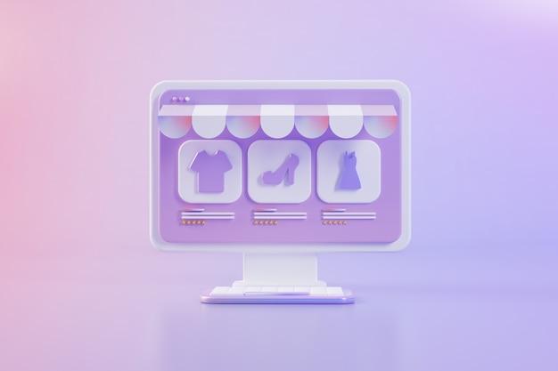 Sklep internetowy na komputerowej koncepcji renderowania 3d