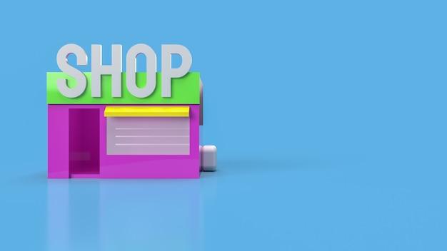 Sklep na niebieskim tle do renderowania 3d koncepcji biznesowej
