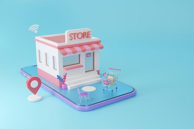 Sklep na smartfonie z zakupami online koncepcja aplikacji mediów społecznościowych, renderowanie 3d