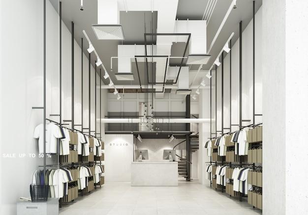 Sklep odzieżowy w domu towarowym wyświetla ubrania wewnątrz sklepu i udekorował sklep w stylu loftowym z dużą ilością t-shirtów renderujących 3d