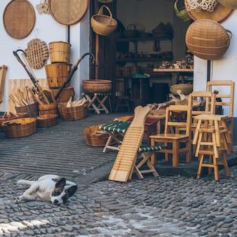 Sklep sprzedający produkty z rattanu i pies do kucania