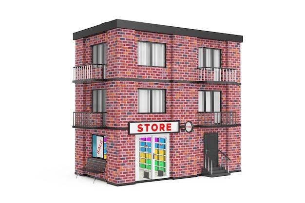 Sklep w mieście, miasto budynek z czerwonej cegły na białym tle. renderowanie 3d
